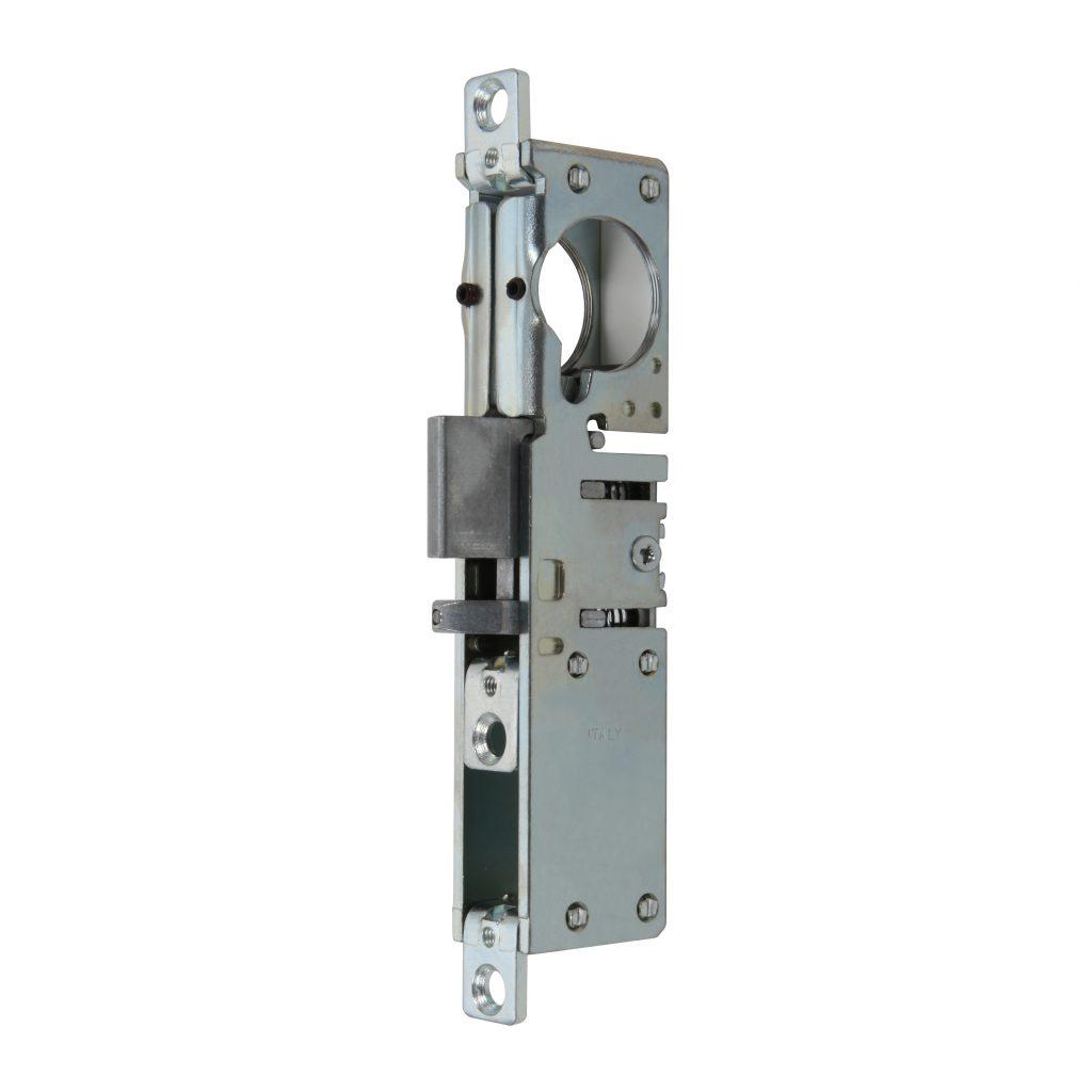 Cerradura de embutir con pestillo reversible autobloqueante predispuesta para cilindro redondo  art. 8516